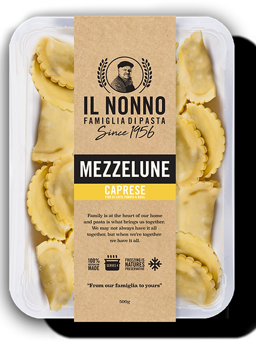 Mezzelune (Half Moon Ravioli) Caprese - Tomato, Basil, Mozzarella (frozen)