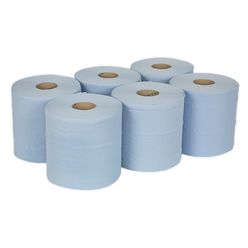 Paper Roll Blue 2-Ply Embossed 150m Pack of 6