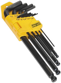 Sealey Long Imperial Ball End Hex Key Set, 9 Pieces
