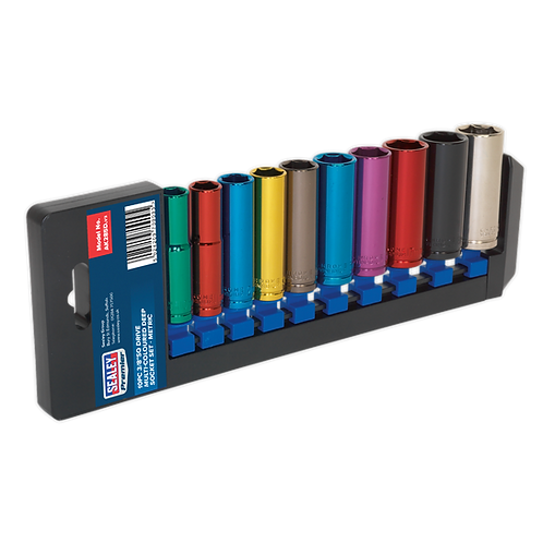 "Multi-Coloured Socket Set 10pc 3/8""Sq Drive 6pt Deep WallDrive® Metric"