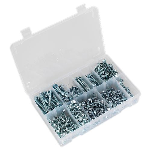 Self Drilling Screw Assortment 410pc Hex Head Zinc DIN 7504K