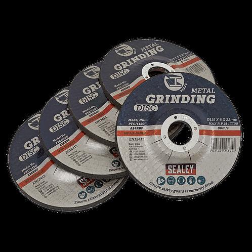 Grinding Disc Ø115 x 6mm Ø22mm Bore - Pack of 5