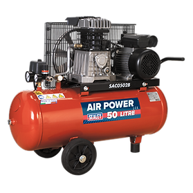 Compressor 50L Belt Drive 2hp with Cast Cylinders & Wheels - Sealey