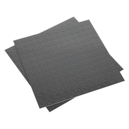 Vinyl Floor Tile with Peel & Stick Backing - Silver Coin Pack of 16