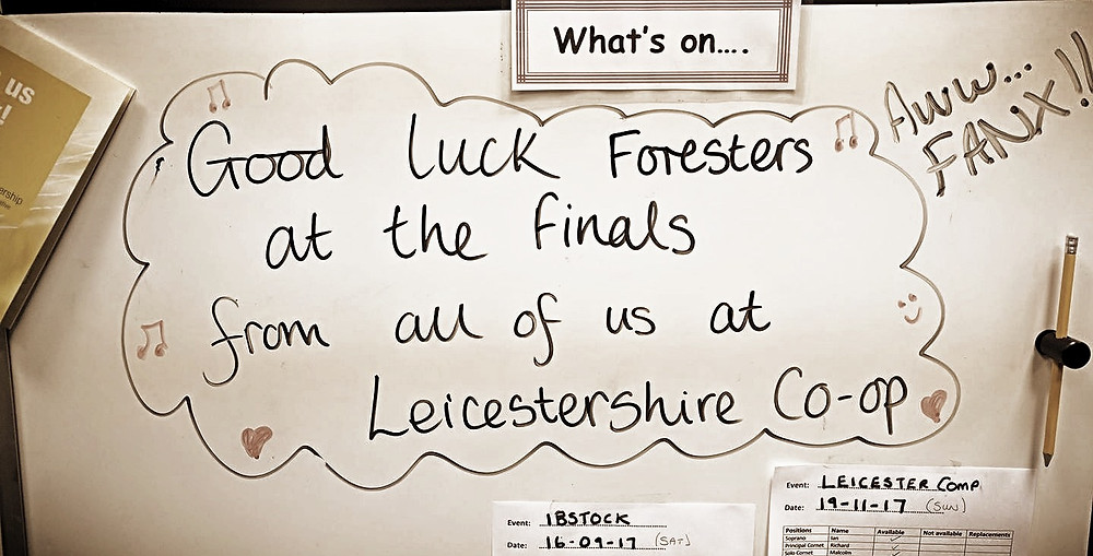 A lovely message from our friends at Leicestershire Co-Operative Band. Thank you!!