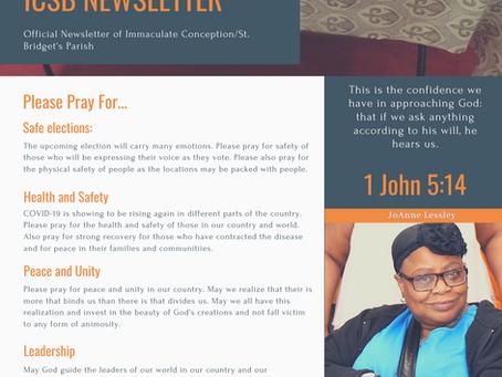 ICSB Newsletter: November 1, 2020 Volume 1, Issue 7