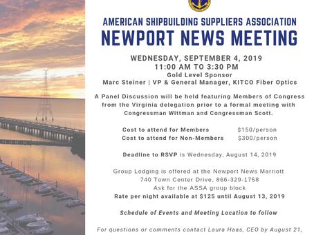 American Shipbuilding Suppliers Association to host meeting in Newport News, VA