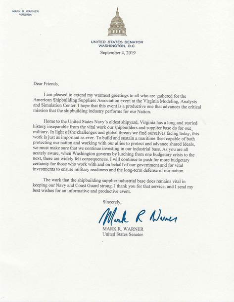 Letter from Senator Warner