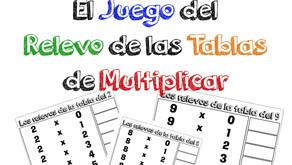 Juego de relevo de las tablas de multiplicar.