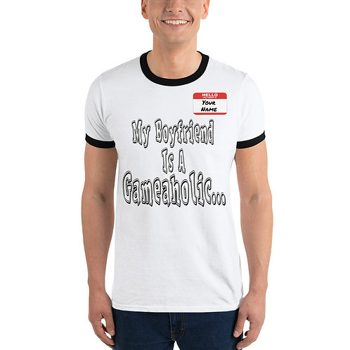 "Men's ""My Boyfriend Is A Gameaholic"" Ringer T-Shirt (Members get up to 60% OFF!)"
