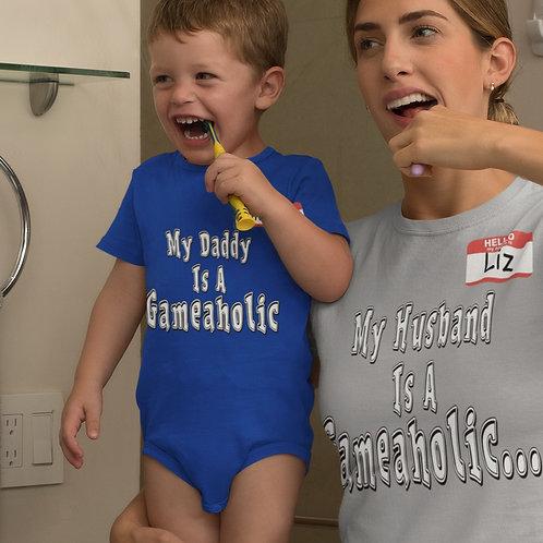 """Babies Custom """"My Daddy Is a Gameaholic"""" Onsie"""