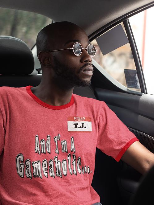 "Men's Custom ""I'm A Gameaholic"" Ringer T-Shirt (Members get up to 60% OFF!)"