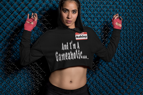 "Women's Custom ""I'm A Gameaholic"" Crop Hoodie (Members get up to 60% OFF!)"