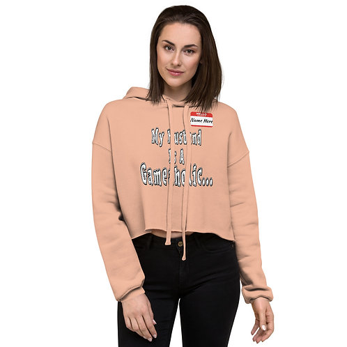 "Women's ""My Husband Is A Gameaholic"" Crop Hoodie (Members get up to 60% OFF!)"