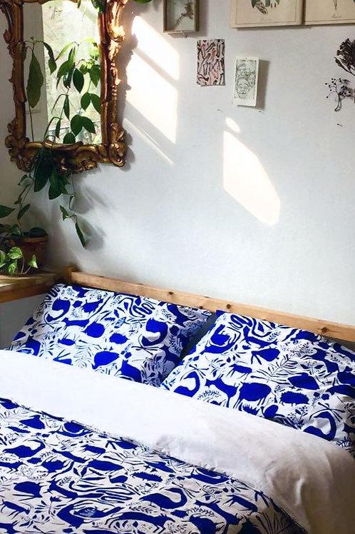 Cotton Pillows Cover- Blue Animals
