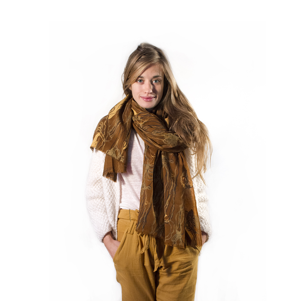 Wool Ball Brown Shawl