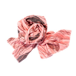 Black and Pink Wool Ball Scarf