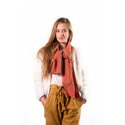 Orange and Brown Wool Ball Scarf