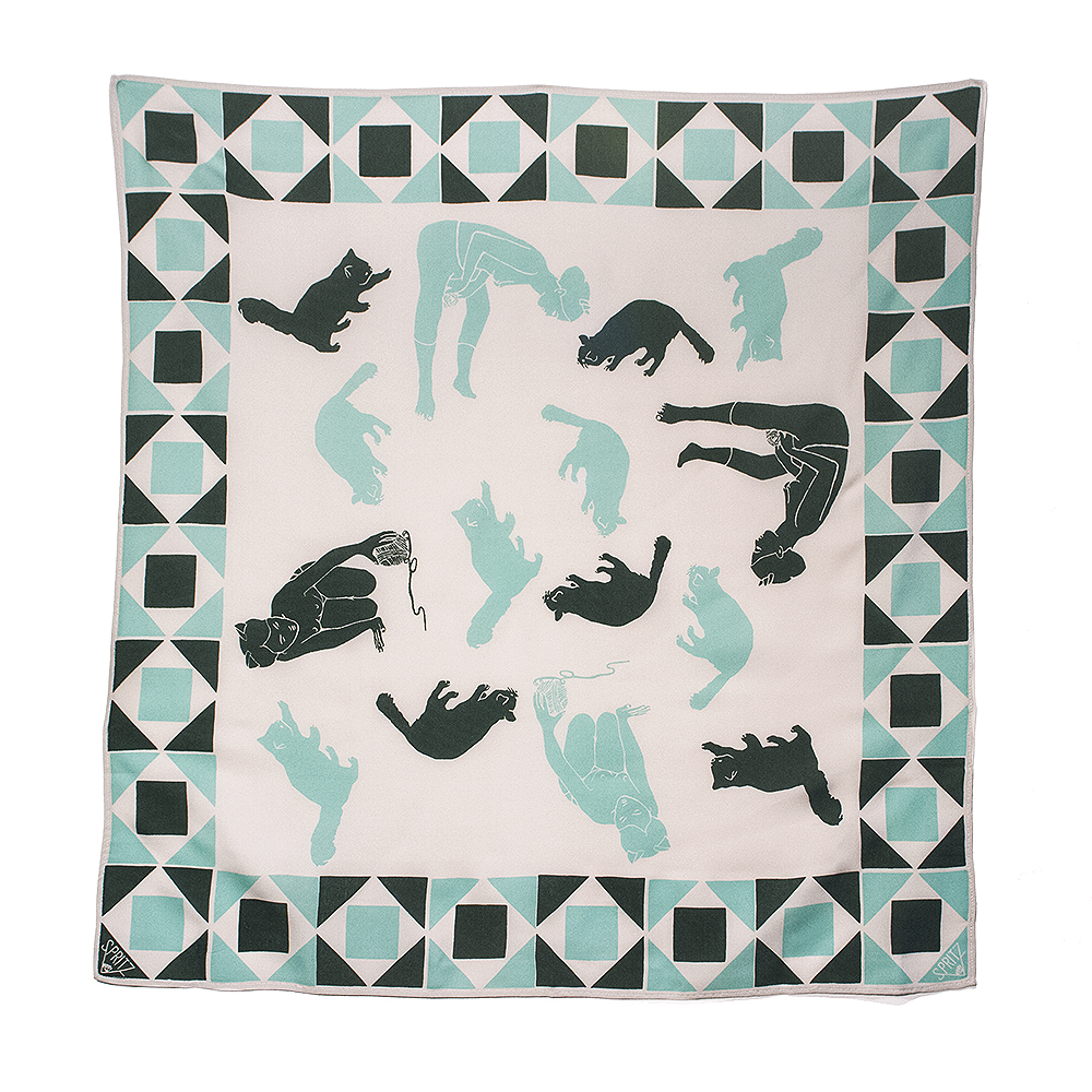 Playtime Green Silk Scarf