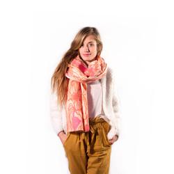 Wool Ball Fluo Pink Shawl