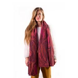 Dark Pink Wool Ball Shawl