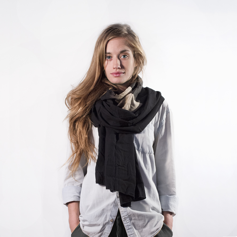 Black Eclipse on Black Cotton Scarf