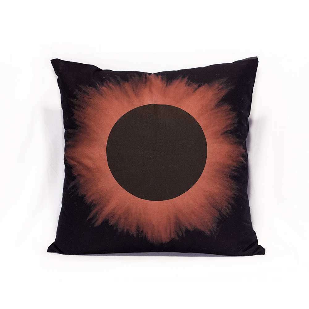 Black Eclipse with Red Halo Pillow
