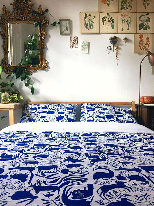 Cotton Duvet Cover- Blue Animals