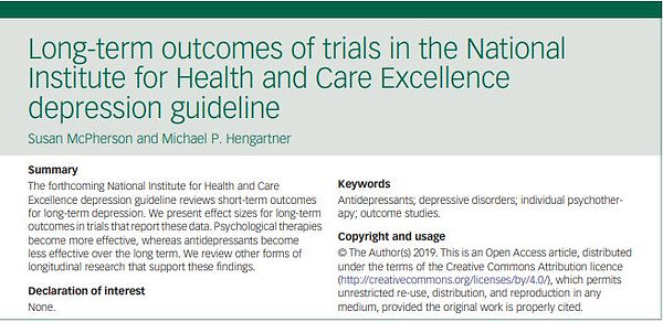 Long term outcomes of trials for depression National Institute for Health and Care Excellence