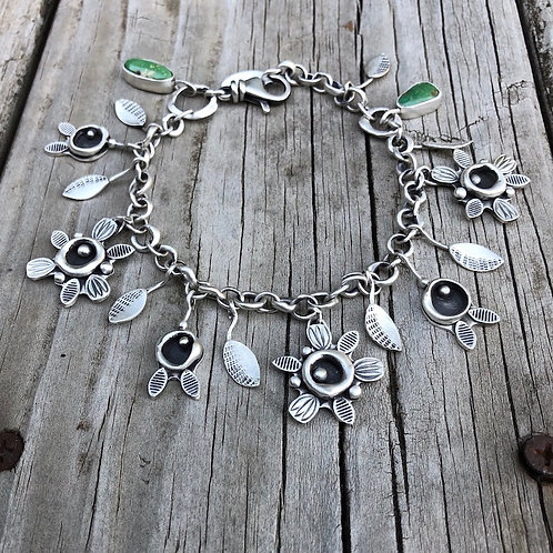 Fine Silver Flower and Bud Charm Bracelet