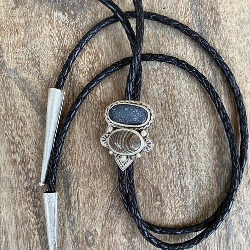 Petrified Snakeskin and Black Druzy Bolo Tie