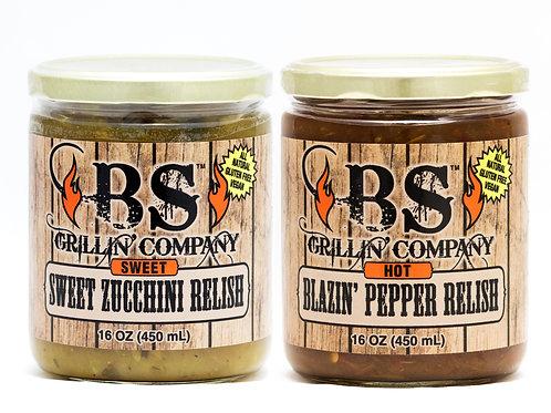 (Variety 2 PK) Sweet Zucchini and Blazin' Pepper Relish