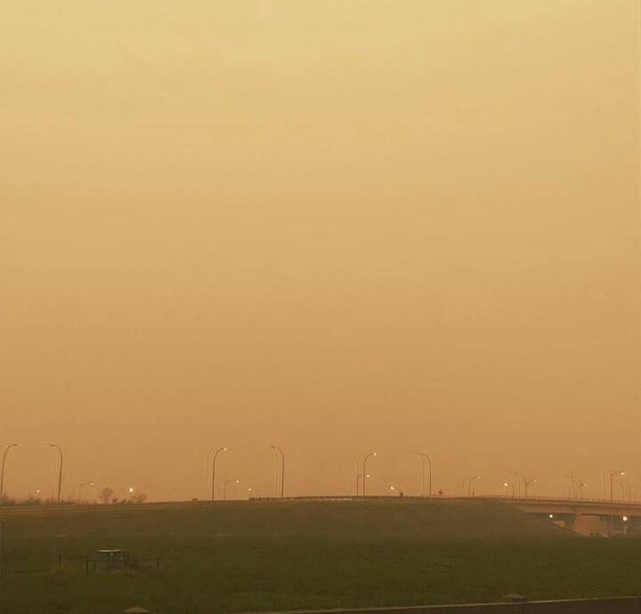 Haze over Edmonton Alberta