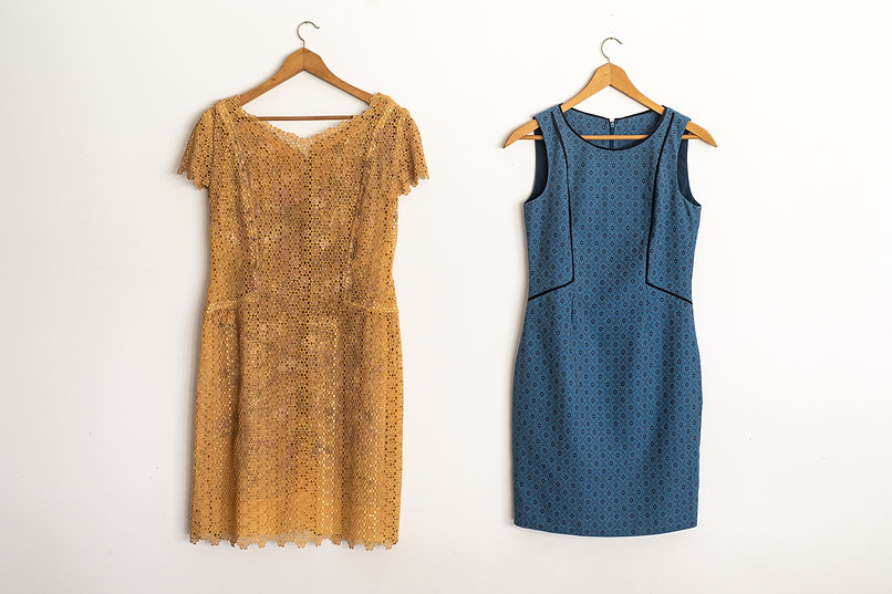 Gold cocktail dress with blue panelled d