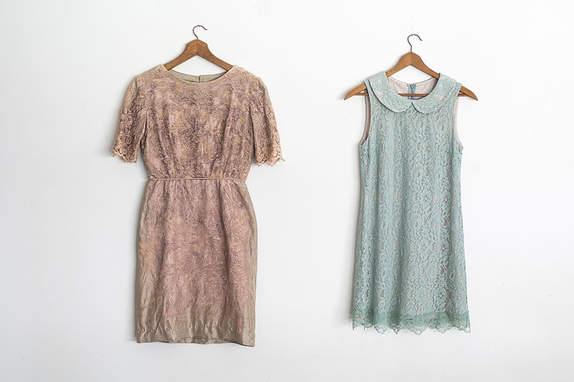 Dusty pink lace cocktail dress with mint