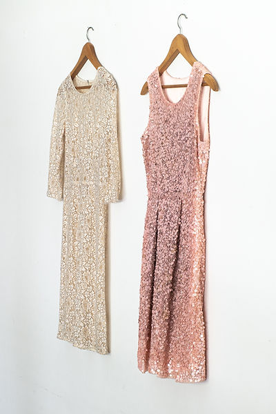 Pink sequined cocktail dress with cream