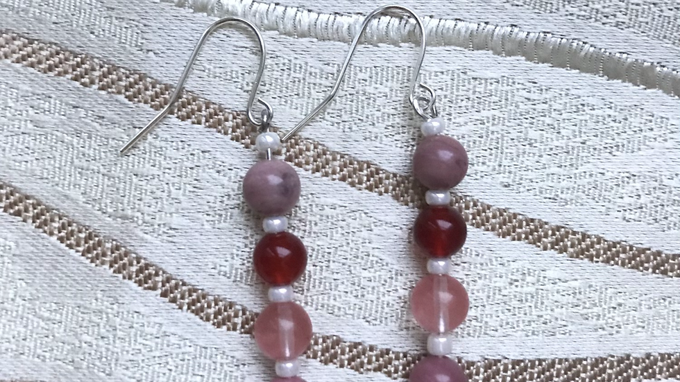 Silver plated earrings with semi-precious stone beads - Pink