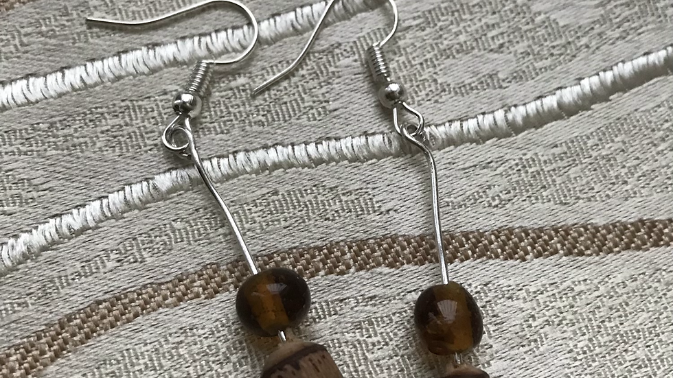 Neutral collection: Glass and wooden bead dangles