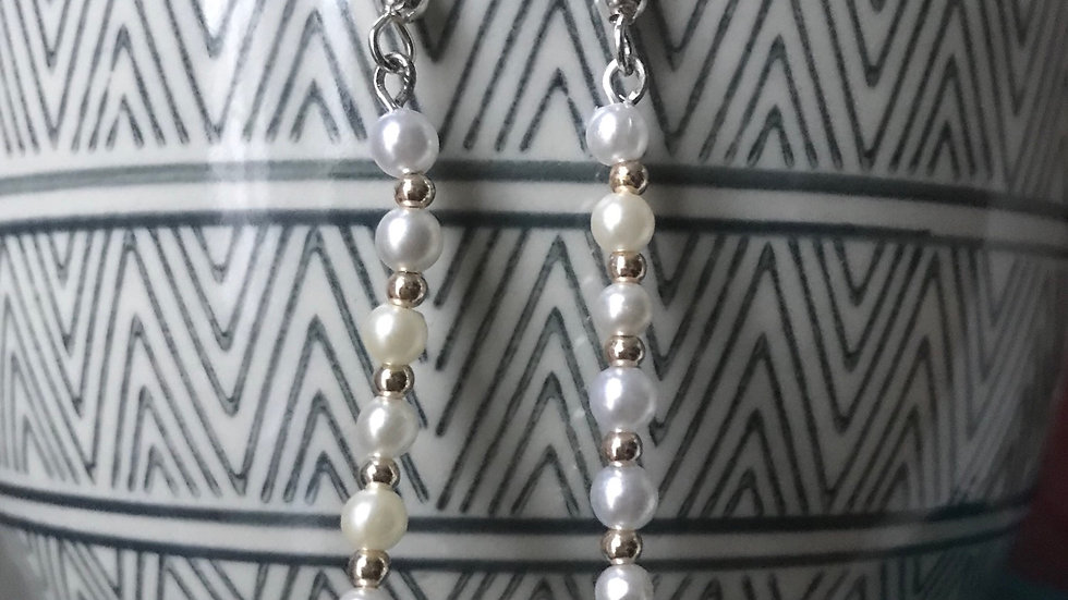 Silver plated earrings with faux pearl beads