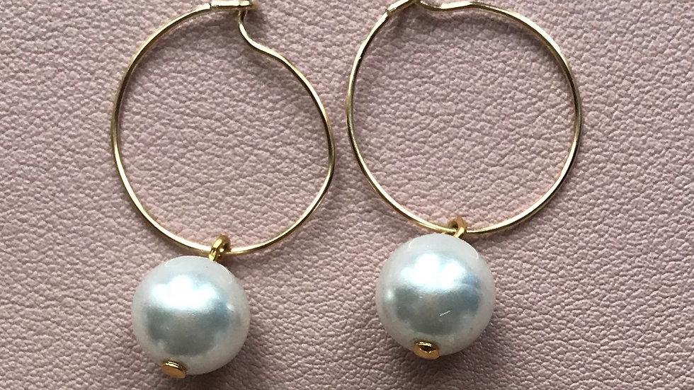 Lydia (Solo faux pearl hoops)