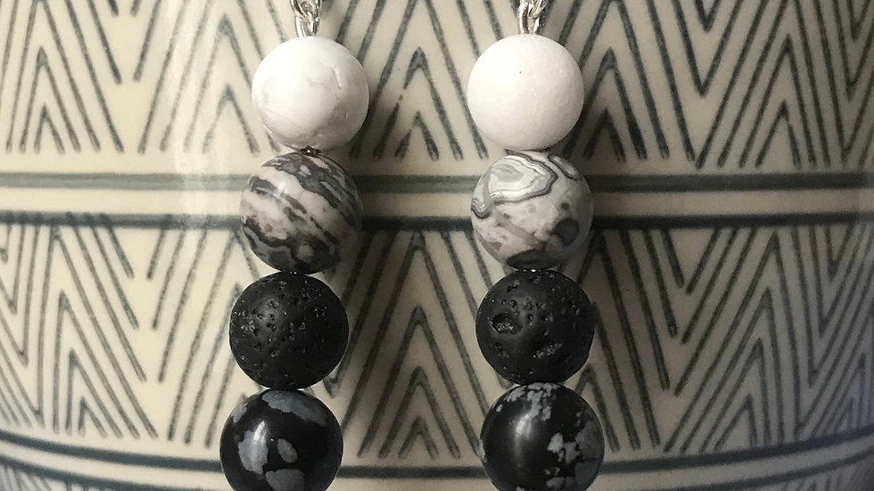 Silver plated earrings with semi-precious stone beads - Monochrome