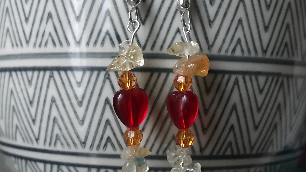 Silver plated earrings with hearts and semi-precious stones