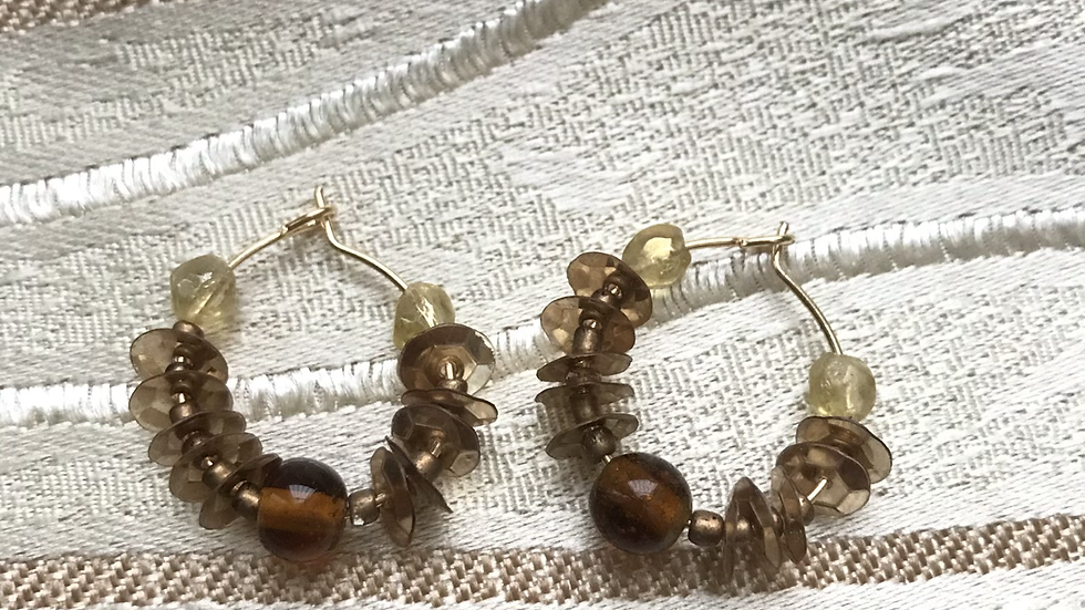 Neutral collection: Neutral hoops with sequins and glass bead