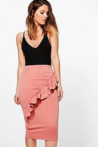 Ruffle Front Scuba Midi Skirt - Peach