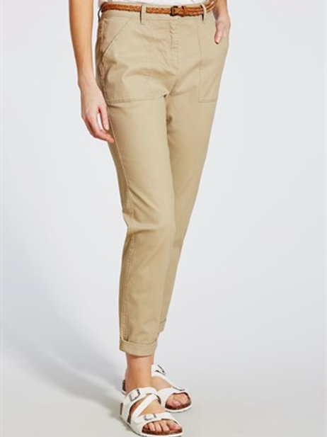 Belted Chino Trousers - Stone