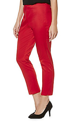 F&F Sateen Mid Rise Slim Leg Ankle Grazer Trousers - Red