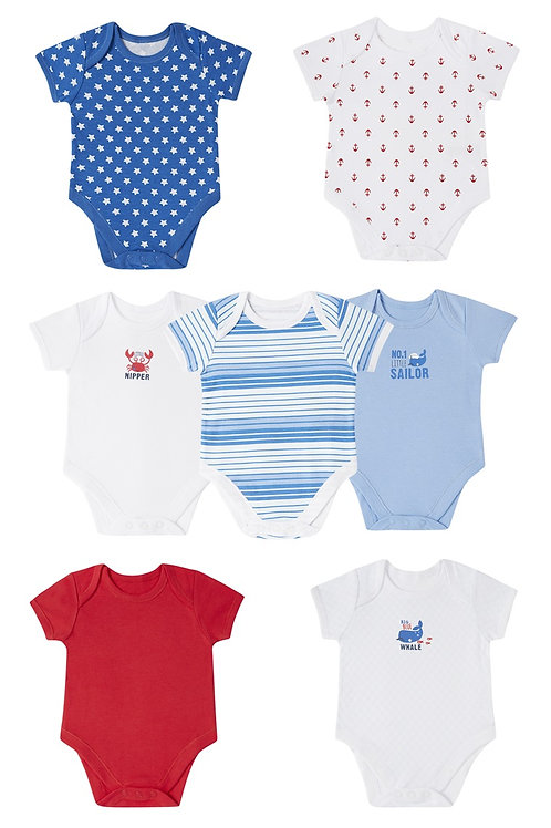 Early Days - 7 Pack Nautical Bodysuits