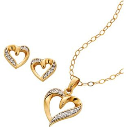 9ct Gold Plated Silver Heart Pendant and Earrings