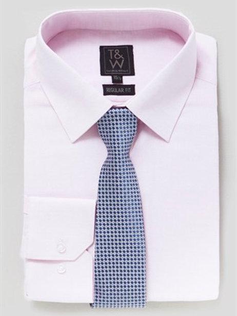 T&W Long Sleeve Regular Fit Shirt & Tie Set