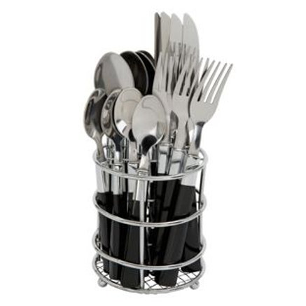 ColourMatch 16 Piece Cutlery Caddy - Jet Black